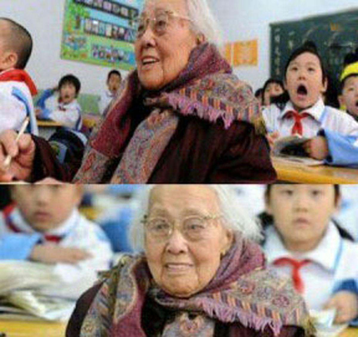 پیرترین دانش آموز جهان با 102 سال سن سر کلاس اول