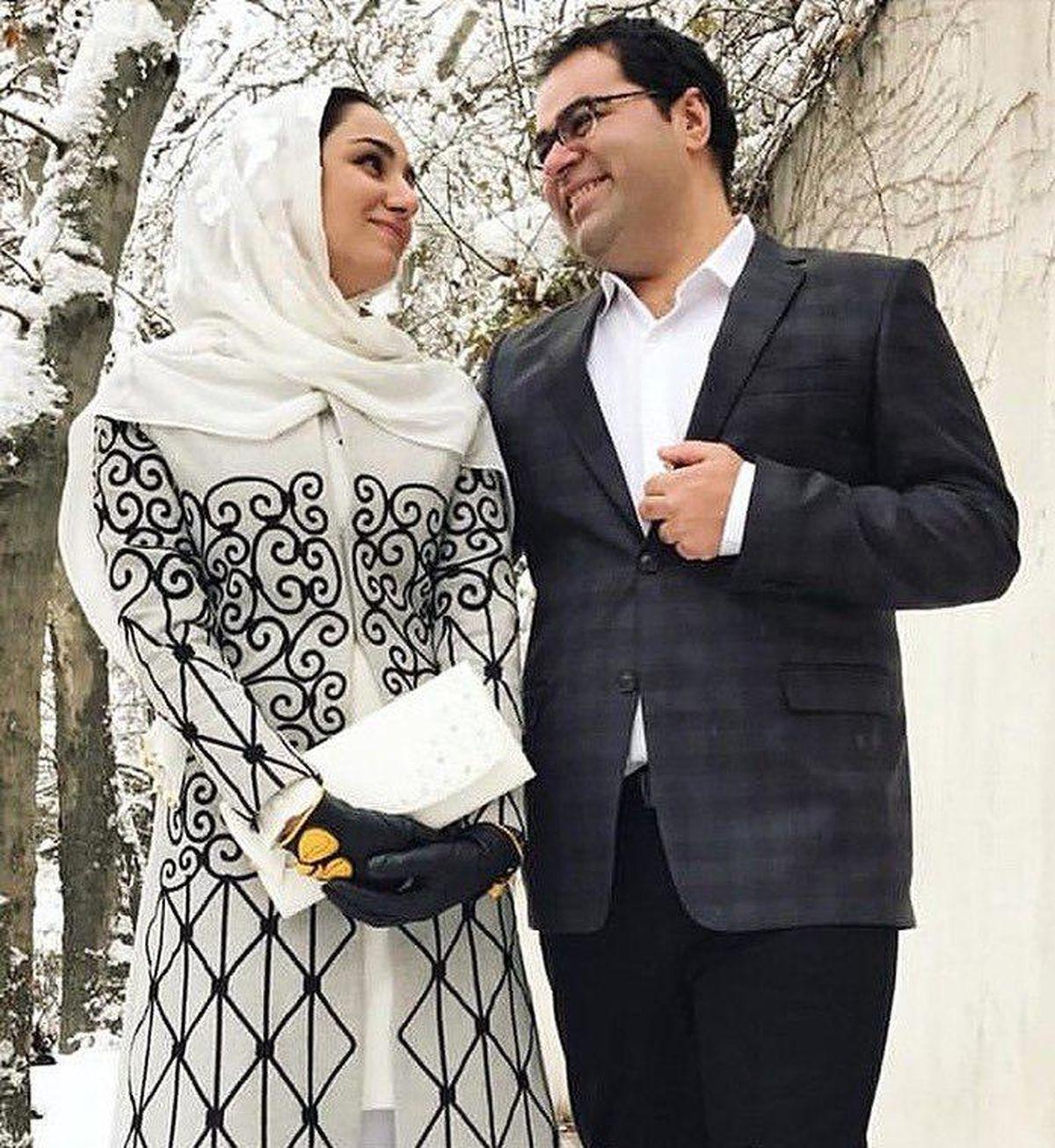 ریحانه یاسینی خبرنگار فقید در کنار همسرش در روز عقدشان
