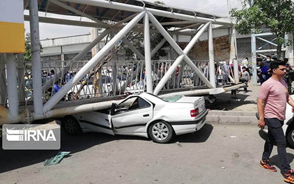 تصاویر دیده نشده از سقوط پل عابر پیاده در شهرستان بهارستان تهران