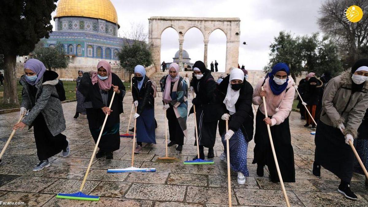تصاویر دیده نشده از شست و شوی مسجد الاقصی
