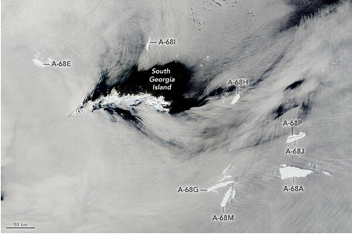 عکس ماهوارهای از متلاشی شدن بزرگترین کوه یخی جهان
