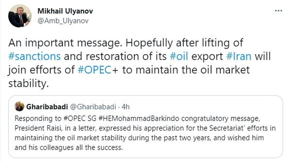 پاسخ توئیتری نماینده روسیه به سفیر ایران درباره نفت