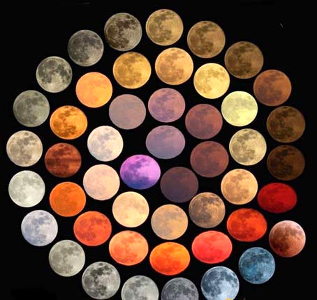 تصویری دیدنی از رنگهای مختلف کره ماه یکجا
