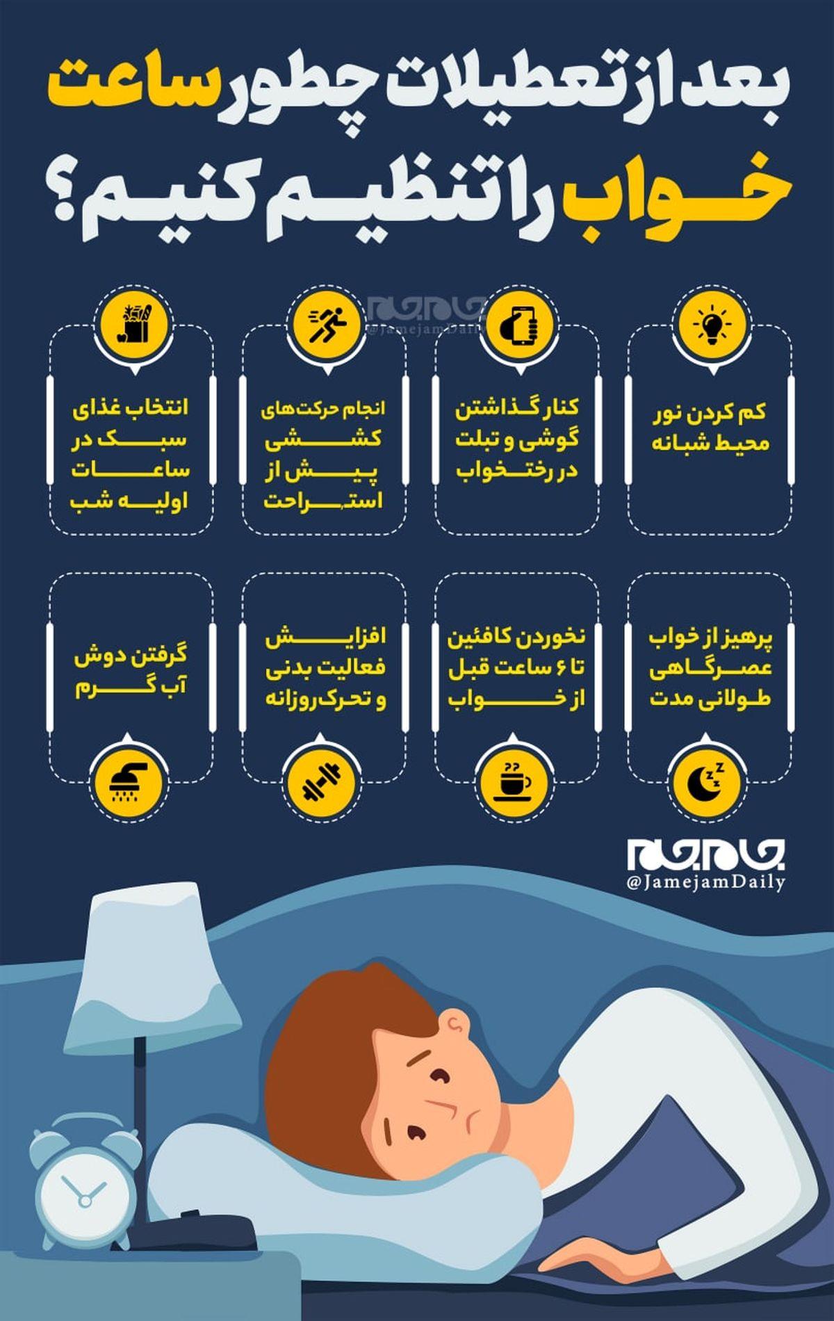 چطور ساعت خواب خود را تنظیم کنیم ؟+اینفوگرافیک