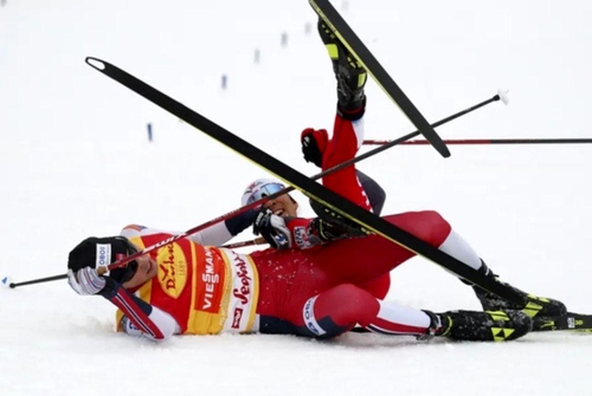 عکسی جالب از تصادف ۲ اسکی باز معروف