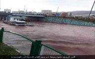 اولین عکس از گیرافتادن خودروها در سیل تبریز
