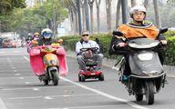 پوشش جالب موتورسواران چینی در سرما / تصاویر