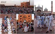 عکس: ضیافت افطار مسلمانان هند در صحنهای مسجد جامع دهلی نو