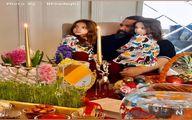 رضا صادقی به همراه دو دختر زیبایش سر سفره هفت سین + عکس