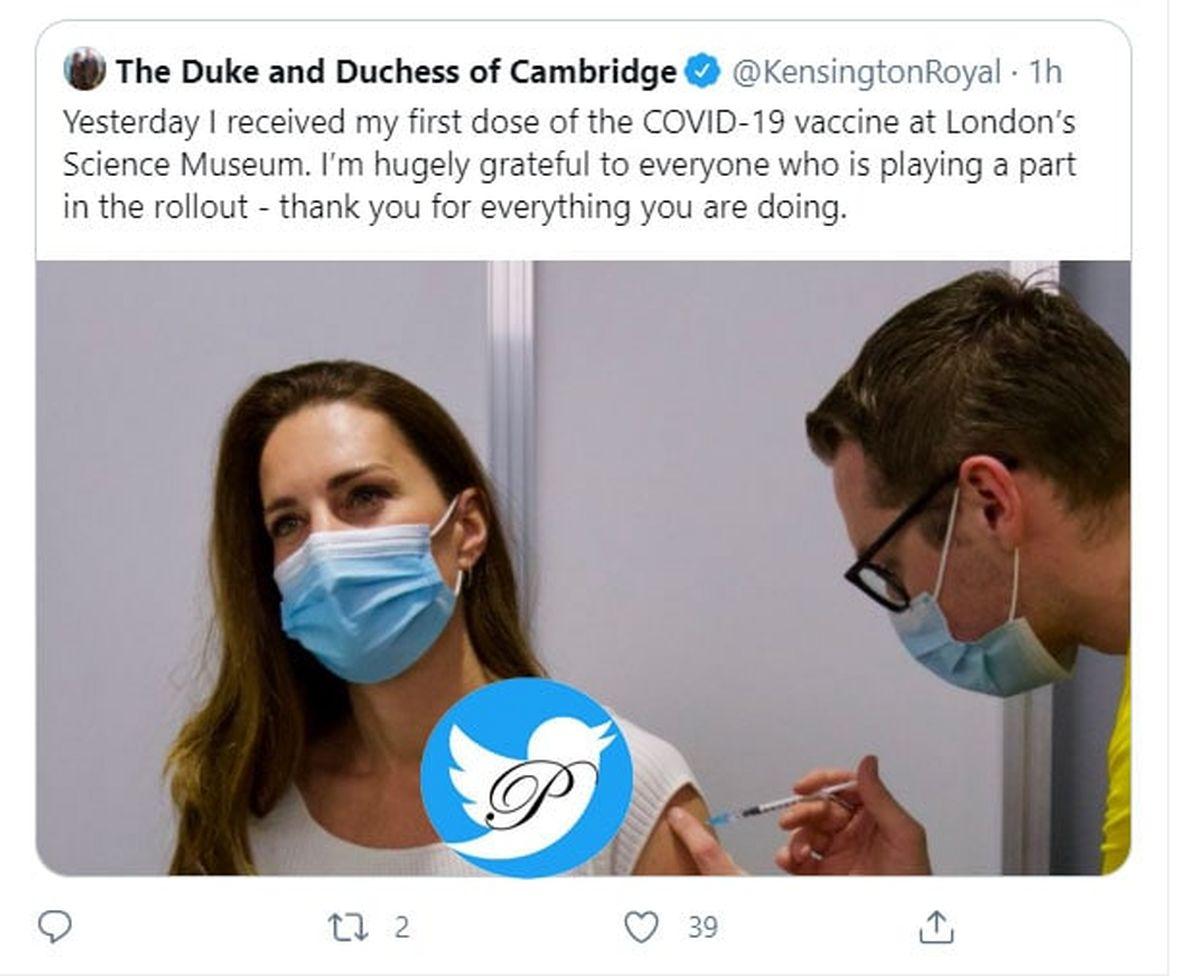 کیت میدلتون، عروس و ملکه آینده انگلیس در حال تزریق واکسن کرونا