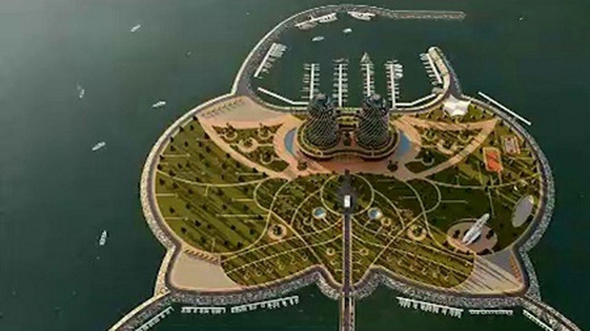 تصاویر زیبا از ساخت نخستین جزیره مصنوعی کشور در دریای خزر