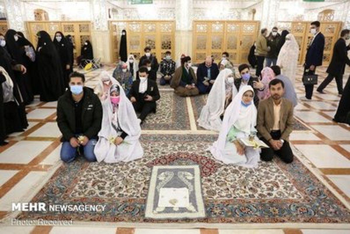 تصاویری زیبا از مراسم ازدواج ۲۰ زوج در جوار حرم مطهر امام رضا (ع)