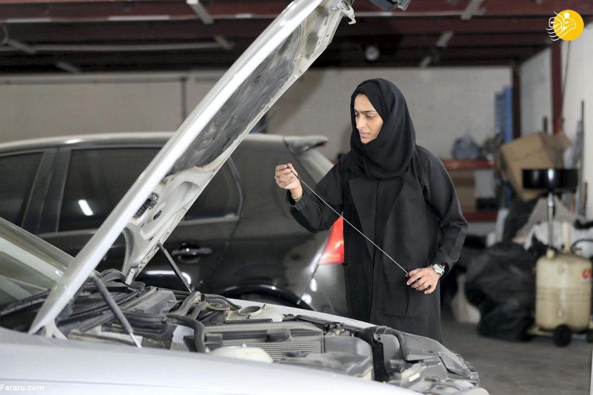 تصاویر دیده نشده از اولین زن تعمیرکار خودرو در امارات