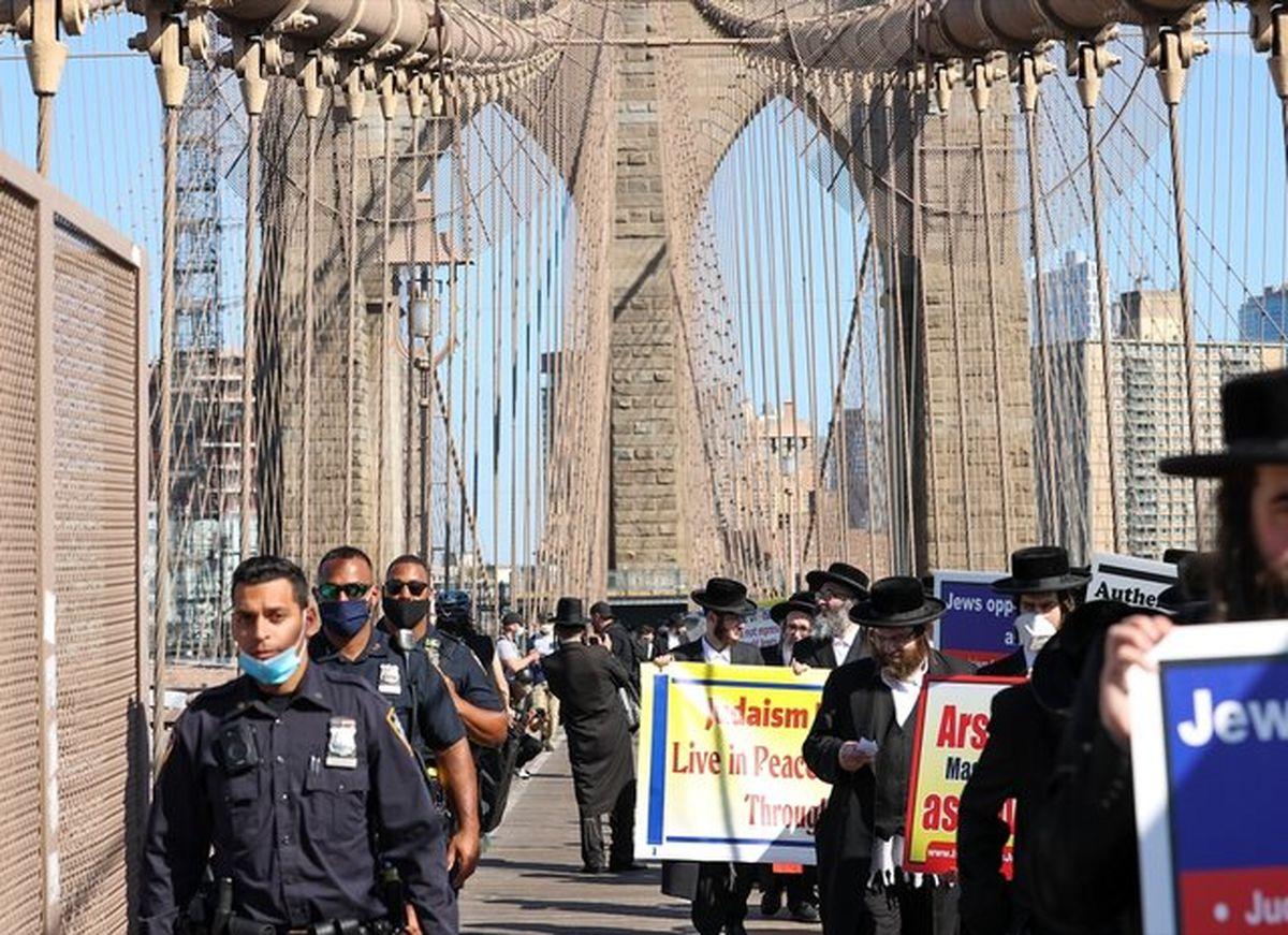 تظاهرات یهودیان نیویورک علیه جنایات رژیم صهیونیستی
