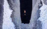 شنا در دریاچه یخ زده!/ عکس