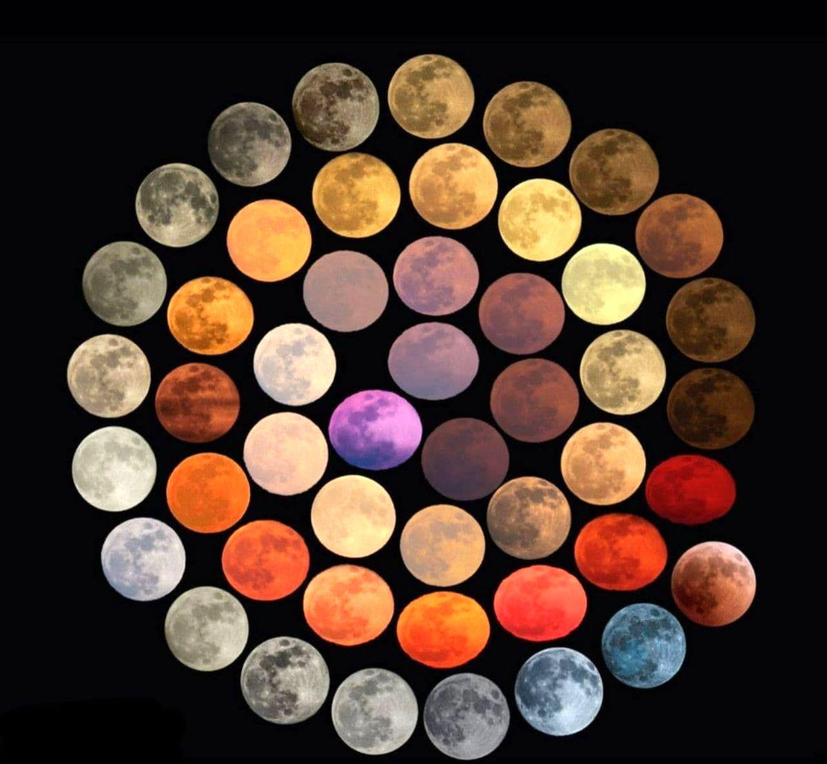 48 رنگ مختلف ثبت شده از ماه در طی 10 سال+عکس جالب
