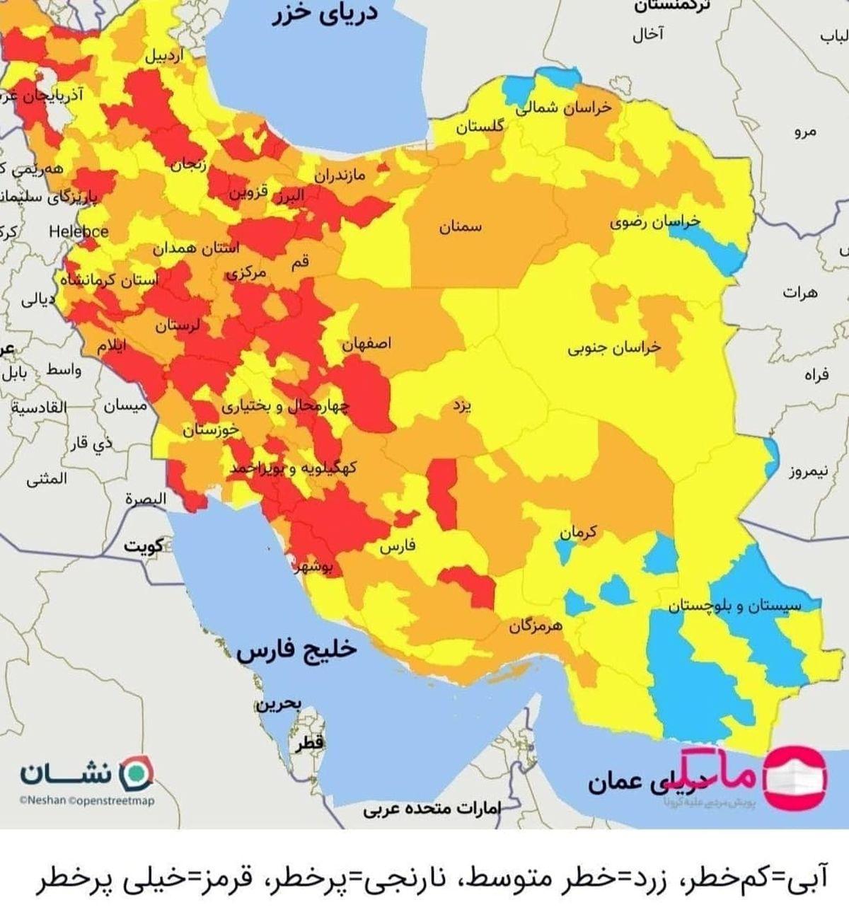 تهران قرمز شد + نقشه جدید رنگ بندی شهرها
